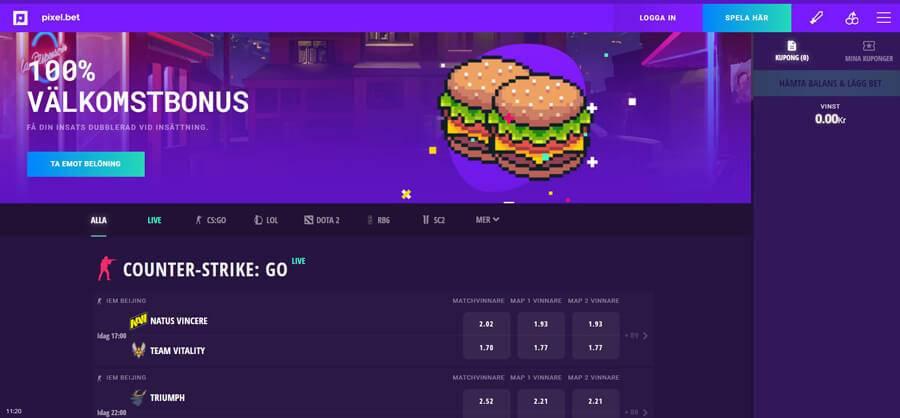 Pixel.bet erbjuder utslutande betting på E-sport